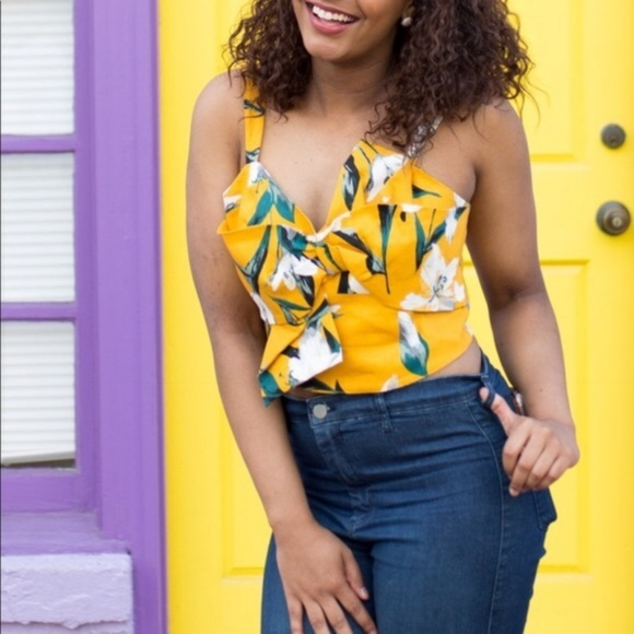 LEITH Floral Bow Yellow Crop Top XXl